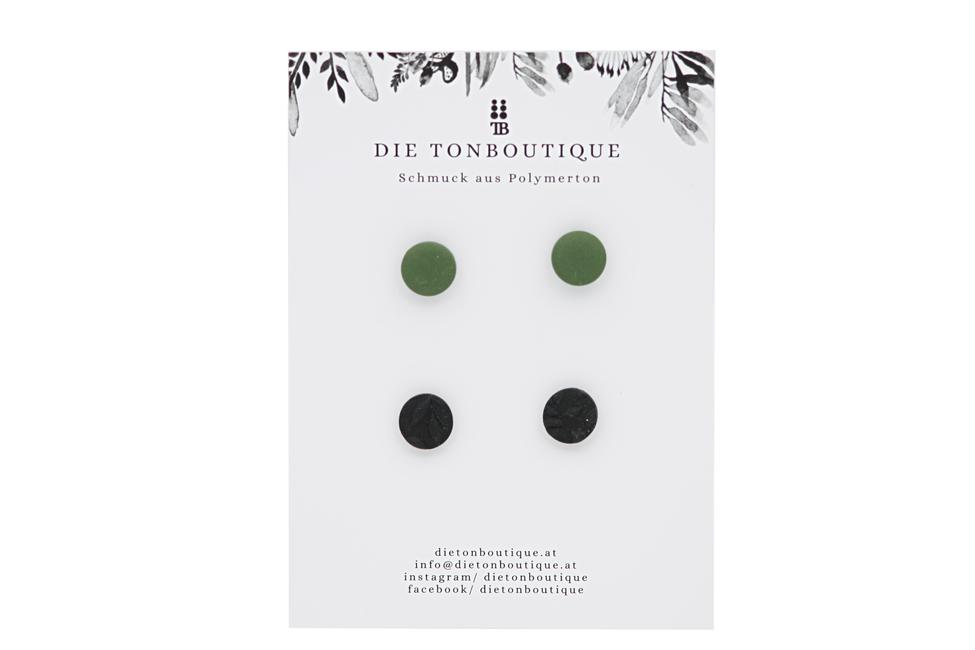 Ohrstecker grün / schwarz