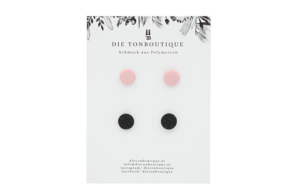 Ohrstecker rosa / schwarz