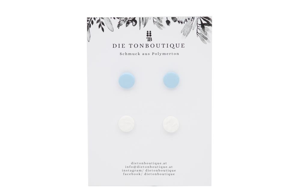 Ohrstecker blau / weiß